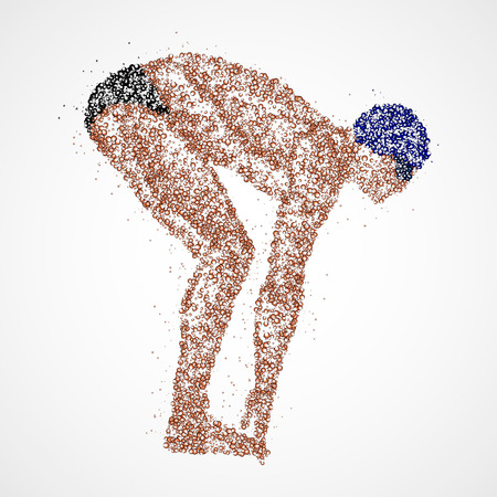 Abstract swimmer at the start of multicolored circles. Photo illustration.
