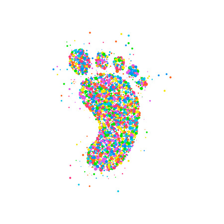 Huella de icono de círculos multicolores. Ilustración vectorial