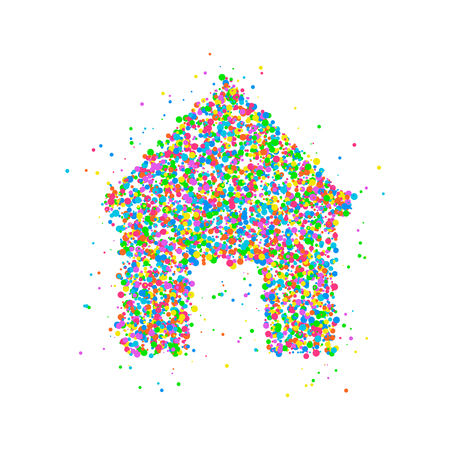 Icon house from multicolored circles. Vector illustration Illustration