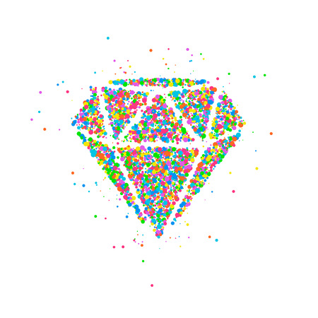 Abstract drawing of a diamond from multi-colored circles. Photo illustration.
