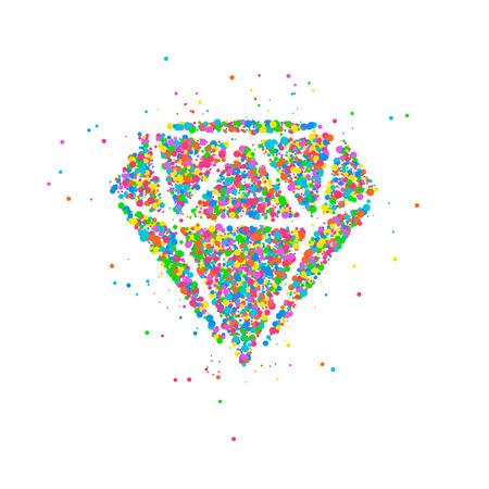 Abstracte tekening van een diamant van multi-colored cirkels. Foto illustratie. Stockfoto