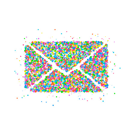 The icon of the envelope of the multicolored circles. Photo illustration.