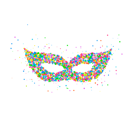 stage costume: Abstract drawing of a carnival mask from multi-colored circles. Photo illustration.