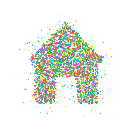 Icon house from multicolored circles. Photo illustration.