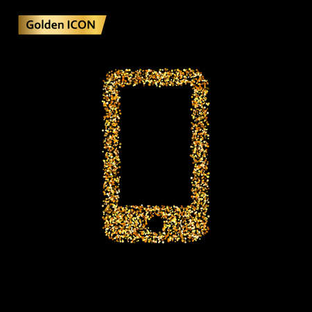 Icon smartphone of golden circles. Photo illustration.