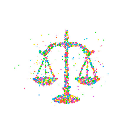 acquit: Abstract drawing of scales of justice from multi-colored circles. Vector illustration.