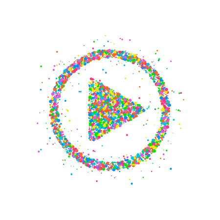 Abstract illustration of a play button from multi-colored circles. Photo illustration.