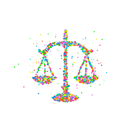 acquit: Abstract drawing of scales of justice from multi-colored circles. Photo illustration. Stock Photo