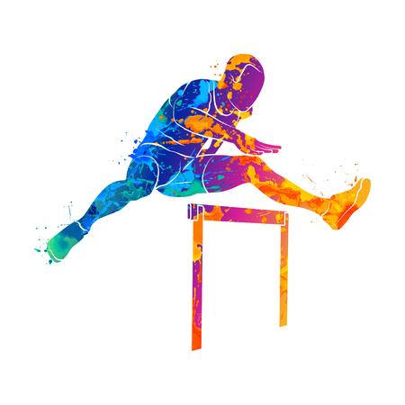 男のハードルをジャンプします。 写真素材 - 76502501