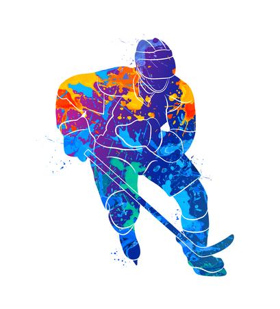 Hockey speler illustratie Stock Illustratie