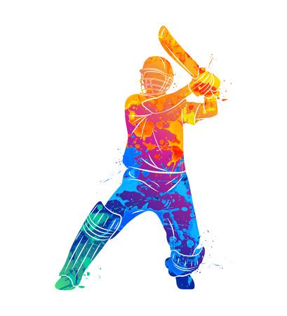 Abstract batsman playing cricket
