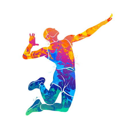 Abstract volleyball player Stock Photo