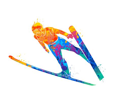 Jumping skier sport Vettoriali