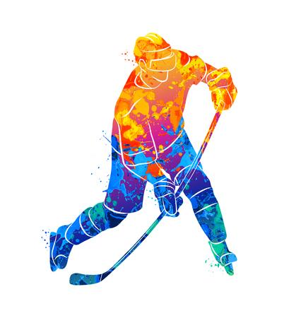 hockey goal: Hockey player illustration