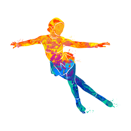 Abstract winter sport Figure skating girl from splash of watercolors. Vector illustration of paints. Vettoriali