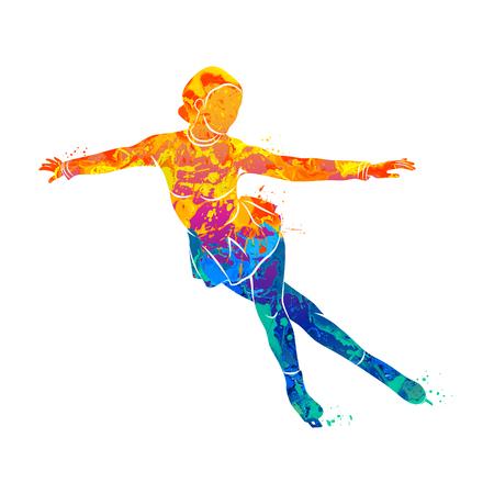 Deporte de invierno abstracto Muchacha del patinaje artístico del chapoteo de acuarelas. Ilustración de vector de pinturas. Foto de archivo - 87061726