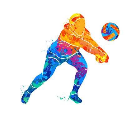 Abstract volleyball player Imagens