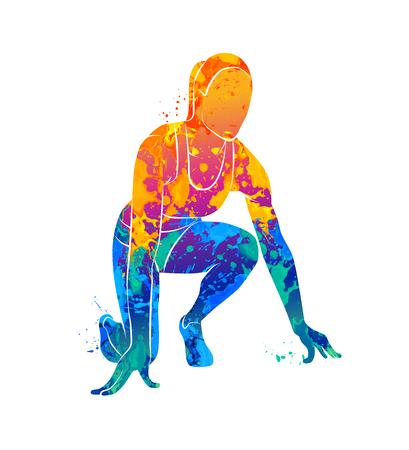 実行すると、スプリンター、運動選手  イラスト・ベクター素材