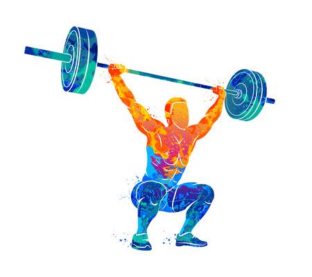 Strong man powerlifting Illustration
