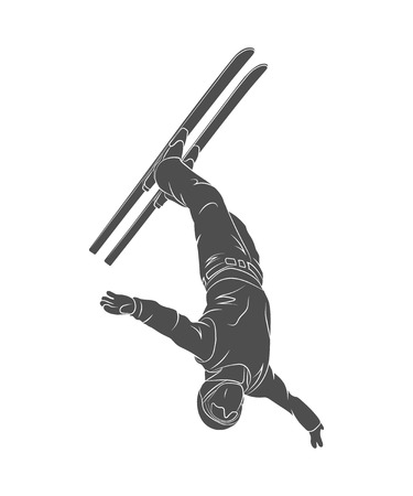 a jumping skier freestyler
