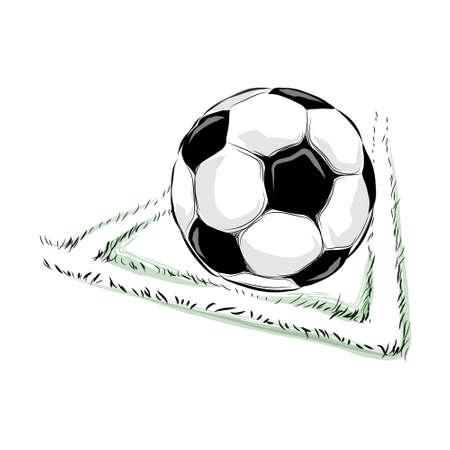 Soccer ball in the field vector illustration