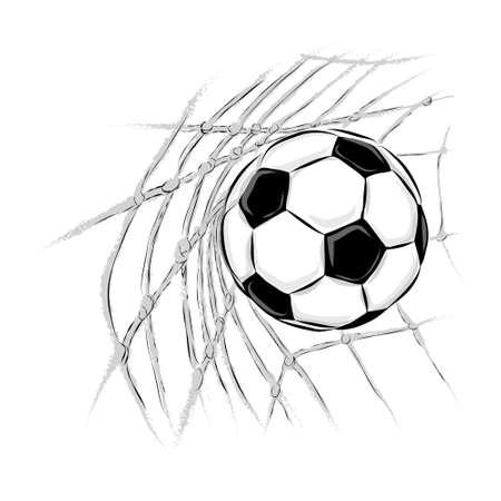 Soccer ball goal illustration.