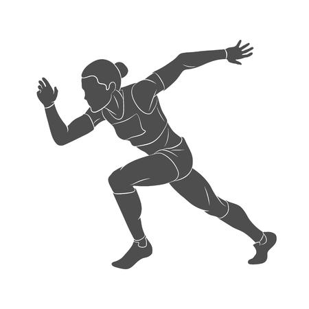 Running, sprinter, athlete illustration on white background.