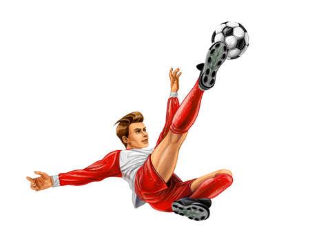 Soccer player kicks the ball vector illustration.