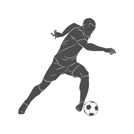 Calciatore della siluetta che corre con la palla su un fondo bianco
