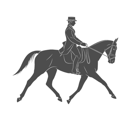 Equestrian sport. Jockey in uniform riding horse. Dressage on a white background. Vector illustration