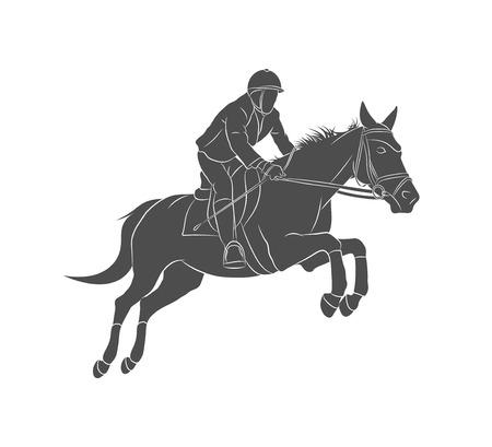 Sport equestri, salto a cavallo, salto ostacoli, cavallo con fantino che salta sopra l'ostacolo sulla concorrenza. Illustrazione vettoriale Vettoriali