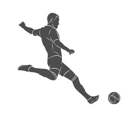 Silhouette soccer player quick shooting a ball on a white background. Vector illustration