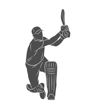 Silhouette batsman playing cricket on a white background. Vector illustration Ilustração