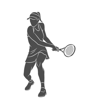 Silhouette tennis player with a racket on a white background. Vector illustration