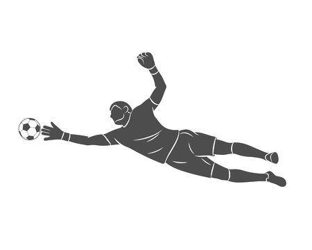 Silhouette football goalkeeper is jumping for the ball. Soccer on a white background. Vector illustration