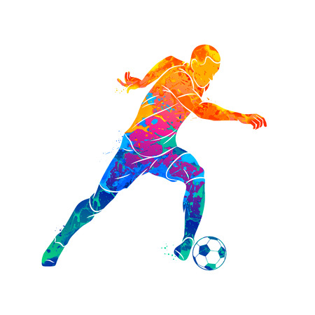 Abstract soccer player running with the ball from splash of watercolors. Vector illustration of paints. Ilustração