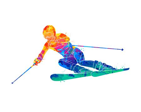 Abstraktes Skifahren. Abfahrtsslalom-Skifahrer aus Aquarellspritzern. Wintersport