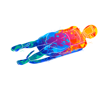 Abstract Luge sport winter sports from splash of watercolors. Vector illustration of paints. Banco de Imagens - 127234838