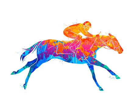 Abstract racing horse with jockey from splash of watercolors. Equestrian sport. Vector illustration of paints