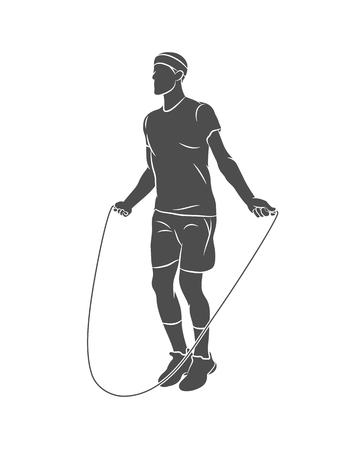 Sylwetka młody sportowiec skakanka na białym tle. Ilustracja wektorowa