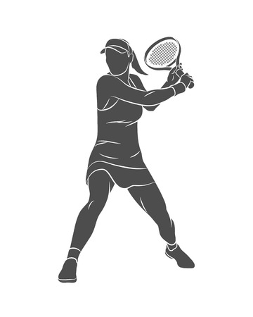 Silhouette tennis player with a racket on a white background. Vector illustration Ilustração