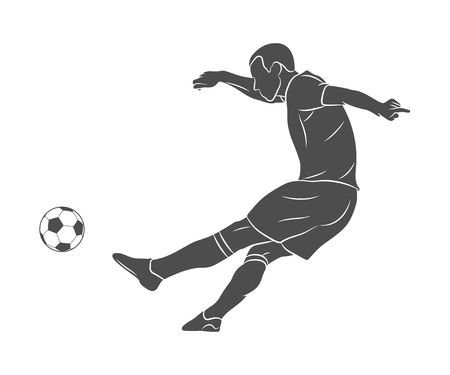Silhouette soccer player quick shooting a ball on a white background