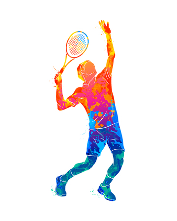 Abstract tennis player with a racket from splash of watercolors. Vector illustration of paints Banco de Imagens - 126352396