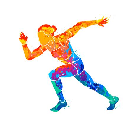 Abstract di una donna in esecuzione a breve distanza velocista da schizzi di acquerelli. Illustrazione vettoriale di vernici