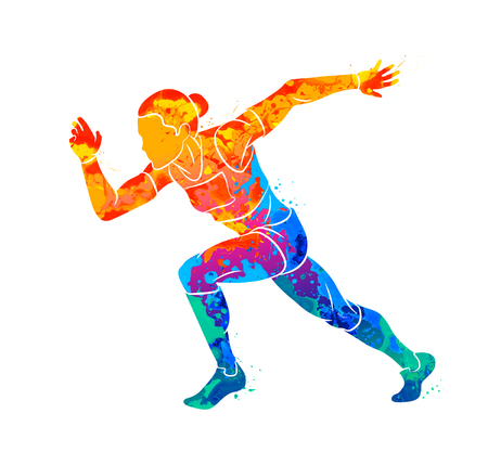Abstract of a running woman short distance sprinter from splash of watercolors. Vector illustration of paints Illustration