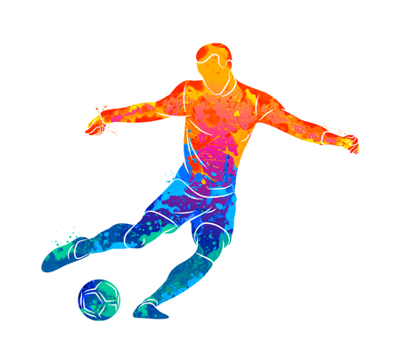 Abstract professional soccer player quick shooting a ball from splash of watercolors. Vector illustration of paints Ilustração