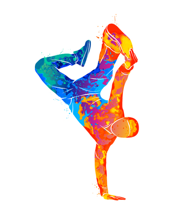 Abstract young man break dancing from splash of watercolors. Vector illustration of paints