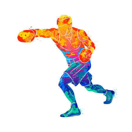 Abstract boxer man, mixed martial arts fighter from splash of watercolors. Vector illustration of paints Banco de Imagens - 126093153