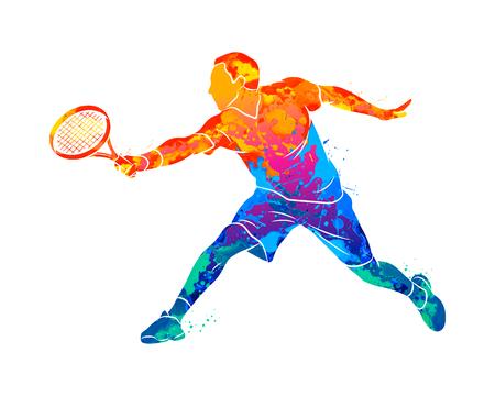 Giocatore di tennis astratto con una racchetta da schizzi di acquerelli. Illustrazione vettoriale di vernici