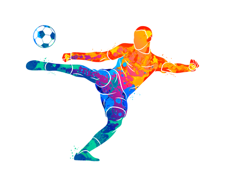 Abstract professional soccer player quick shooting a ball from splash of watercolors. Vector illustration of paints Banco de Imagens - 125873060